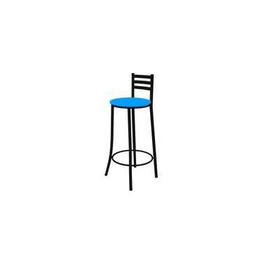 Banqueta Alta Com Encosto Preto Com Assento Azul - Marcheli