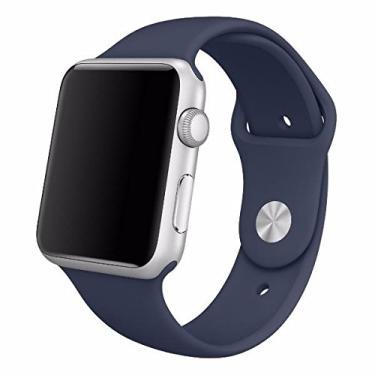 Pulseira Sport em Silicone para relógio Apple Watch 42mm Series 3 2 1 (Azul Escuro 42mm ML)