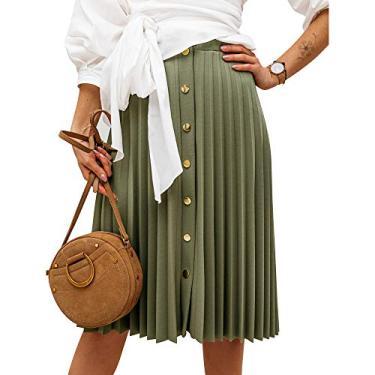 Saia midi feminina plissada com botão Exlura Accordion para trabalho casual, Bronze Green, X-Large