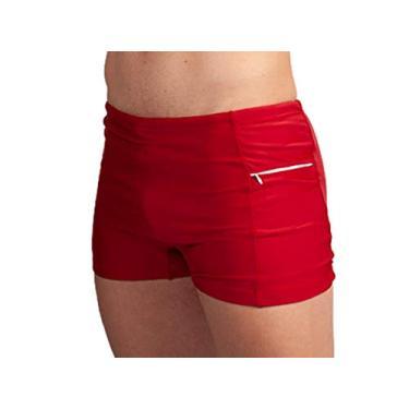 Sunga Boxer Com Bolso Masculina Short de Praia Tamanho:M;Cor:Vermelho