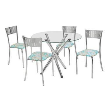 Imagem de Conjunto de Mesa com 4 Cadeiras Carol Corino Cromado