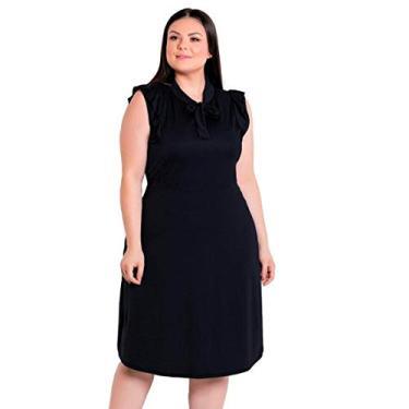 Vestido Plus Size Preto Moda Evangélica Midi Festa Feminino (Preto, M)