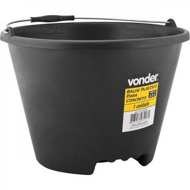 Balde plástico para concreto 12 litros Vonder - caixa com 5 Unidade - Preto