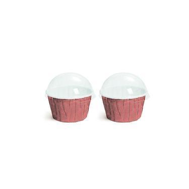 20 Kit Forminha Cupcake Tampa Xadrez Vermelho P Decoração Festas