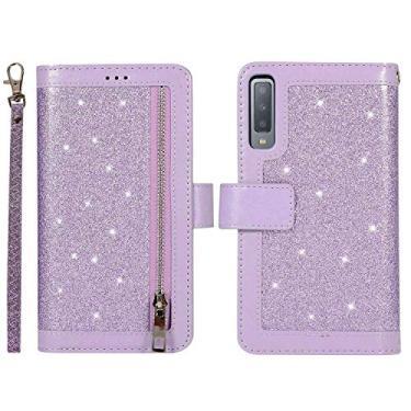 YINCANG Capa carteira para Samsung Galaxy A7 (2018) com cordão, couro brilhante, bolso com zíper, proteção total, capa de couro magnético para Samsung Galaxy A7 (2018) (roxo)