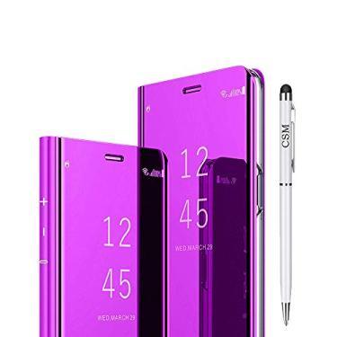 Capa flip espelhada para Samsung Galaxy S7 Edge, de luxo, com suporte galvanizado, proteção de tela transparente, cobertura total, película flexível