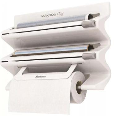 Porta Rolos Maxroll Cheff Papel Toalha PVC Alumínio Cozinha Branco - P