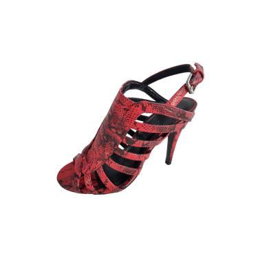 Sandália Salto Agulha TopGrife Couro Cobra Vermelho  feminino