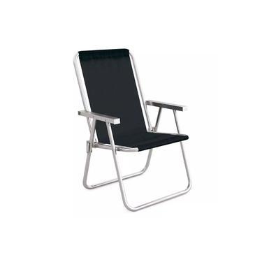 Cadeira De Praia Conforto De Aluminio Preta Mor