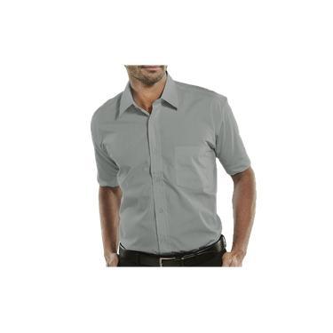 Camisa Social Manga Curta 100% Microfibra Masculina Cinza