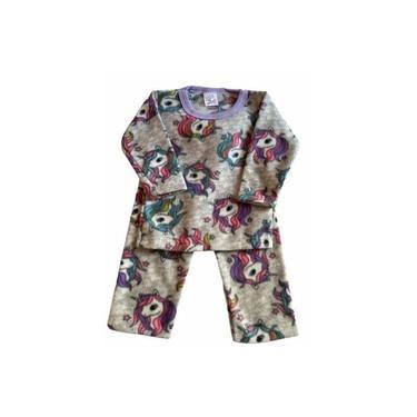 Pijama Infantil Soft Estampado Menina Unicórnio Cinza