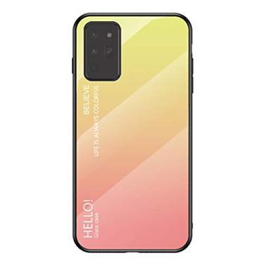 MOONCASE Capa para Galaxy Note 20, TPU ultra fino macio + vidro transparente + padrão de cor gradiente anti-impressão digital resistente a arranhões para Samsung Galaxy Note 20 de 6,5 polegadas - Amarelo
