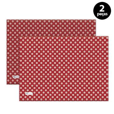 Imagem de Jogo Americano Mdecore Natal Flocos de Neve 40x28 cm Vermelho 2pçs