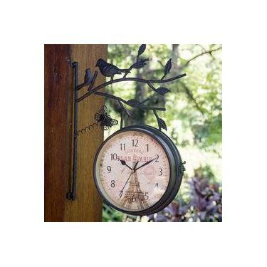 Relógio De Estação Vintage Retrô Dupla Face De Parede Em Metal L1209 Ø22cm - Plan Paris