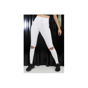 Imagem de Calça Legging com Cadarço Feminino Branca GR Esporte
