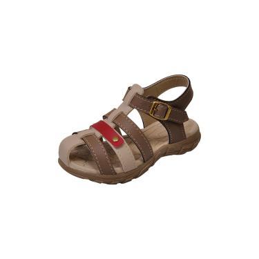 Sandália Papete Raniel Calçados Infantil Menino Bicolor Tiras Caramelo  masculino