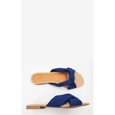 Rasteira Camurça Detalhe Nó Tamanho Especial Le scarpe di Bruna - Azul Jeans  feminino