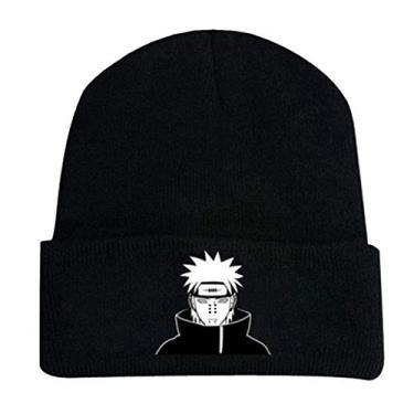 SAFTYBAY Gorro Naruto Pain Anime Beanie Naruto Merch Naruto Gorro de lã bordado Naruto para mulheres e homens, Preto, 18*28cm