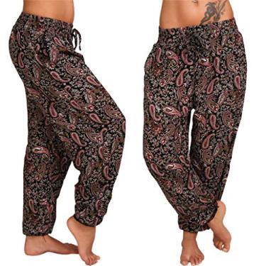SAFTYBAY Calça feminina boho, calça harém de ioga com cintura franzida plus size harém calça de verão praia floral boêmio (vinho, 3GG)