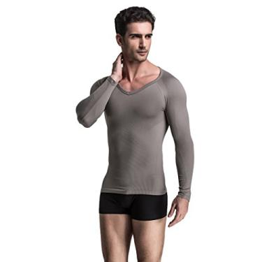 Imagem de Camisa masculina de manga comprida de compressão com ajuste extremo, Cinza, Small