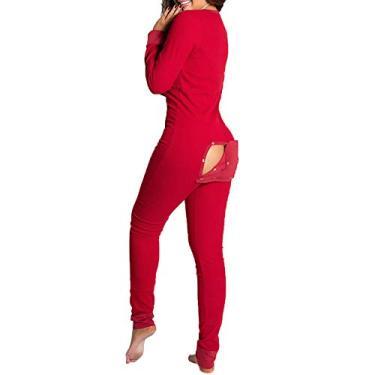 Macacão feminino sexy com decote em V profundo, colado ao corpo, com aba, pijama de manga comprida, A-red, S