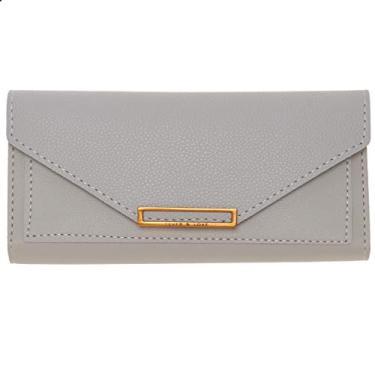 Valicclud carteira feminina retrô bolsa clutch envelope bolsa de mão PU bolsa de mão para presentes de festa feminina e meninas (preto), Cinza, 19X9X1.5CM