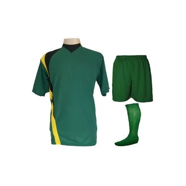 Uniforme Esportivo Completo modelo PSG 14+1 (14 camisas Verde/Preto/Amarelo + 14 calções Madrid Verde + 14 pares de meiões Verde + 1 conjunto de goleiro) +