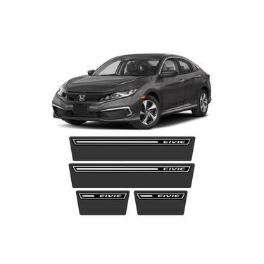 Soleira Honda Civic 2017 A 2020 Protetor De Portas Preto Premium Grafia Personalizada