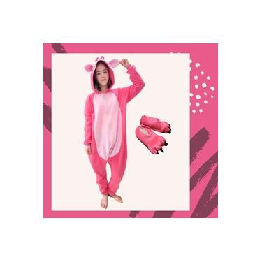 Kit Pijama Kigurumi Lilo Stitch Pink Rosa com Pantufa
