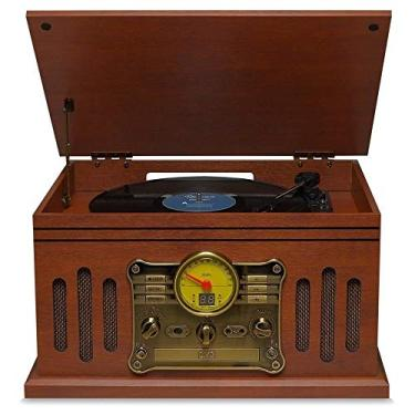 Radio Toca Discos Vinil Vintage Retro Bluetooth Fita Cassete Vitrola CD Pen Drive FM Usb Raveo Stadio