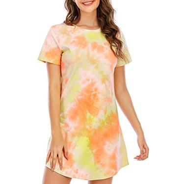 Camisolas femininas Whoyun Tie Dye, camisetas para dormir, camisetas para dormir, vestido de manga curta, roupa de cama, algodão P-GGG, Amarelo, X-Large