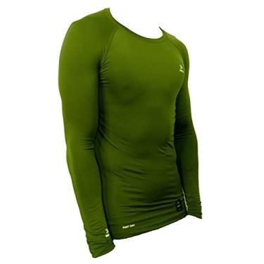 Camisa de compressão térmica United Pro Proteção Solar FPU50+ Manga Longa Rash Guard - Verde escuro - XG