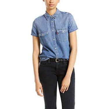 cf55f9fb790c9 Camisa Levis Feminino Larissa Western Azul