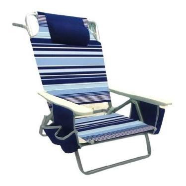 Cadeira Praia Alumínio Reclina Até 5 Posições Bolsa Encosto