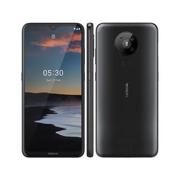 """Smartphone Nokia 5.3 Preto 128GB, Tela de 6,55"""" HD+, 4GB de RAM, Câmera Traseira Quádrupla, Android 10 e Processador Snapdragon Qualcomm"""