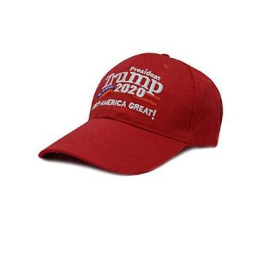 Boné de beisebol masculino e feminino Bestgift de algodão respirável EUA MAGA, Red 1, tamanho �nico