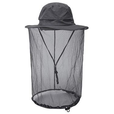SOIMISS Chapéu de balde repelente de mosquitos ao ar livre Chapéu protetor solar rede anti- UV de pescador cinza escuro
