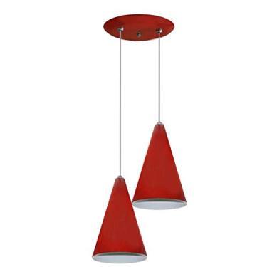 Luminaria Pendente Colorido Duplo Para Sala Quarto Cozinha - Vermelho