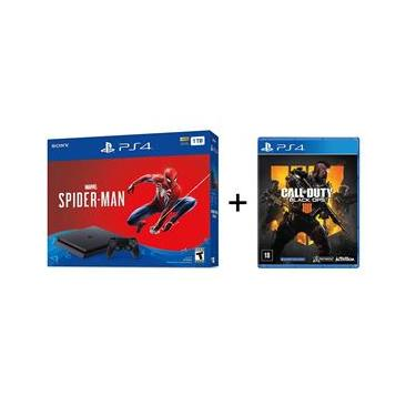 Playstation 4 Slim 1tb Preto + Jogo Spider-Man + Jogo Call of Duty: Black Ops 4