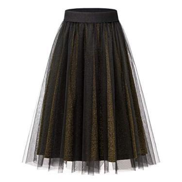 Saia de tule feminina para uso diário na altura do joelho, 2 camadas de saia de formatura para noite, Dourado, Large