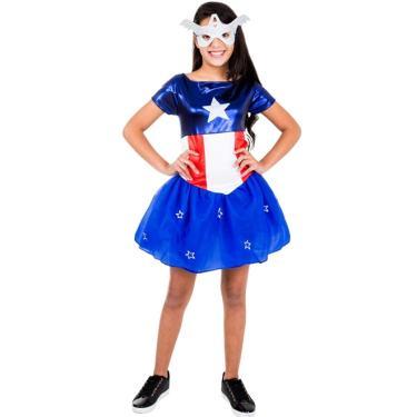 7b004682f656af Fantasias Meninas Capitão América: Encontre Promoções e o Menor ...