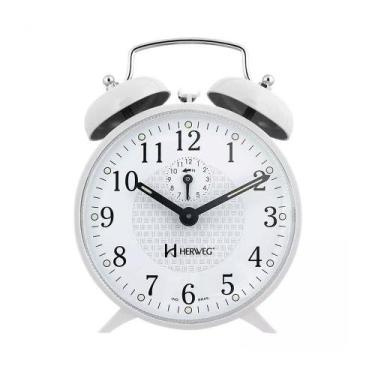 Imagem de Relógio despertador com campainha branco antigo à corda - Herweg