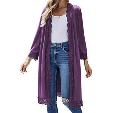 Cardigã feminino casual de manga 3/4, leve, de renda, aberto na frente, suéter de moletom P-3GG, Roxa, Medium