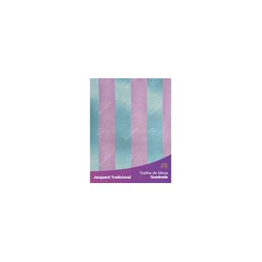 Imagem de Toalha De Mesa Quadrada Em Tecido Jacquard Azul Tiffany E Rosa Listrado Tradicional