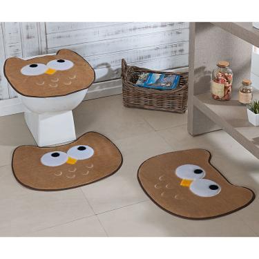 Imagem de Jogo de Tapetes de Banheiro Bordado Coruja Bege 3 Peças