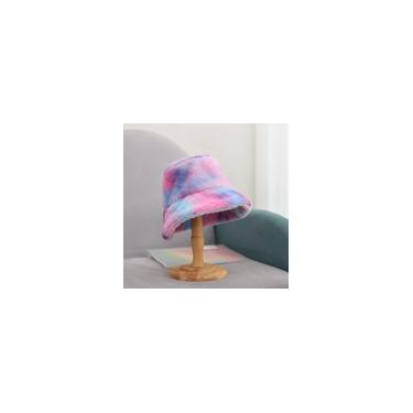 Chapéu feminino de inverno Tie-dye balde Boné bonito e quente para caça e pesca chapéu