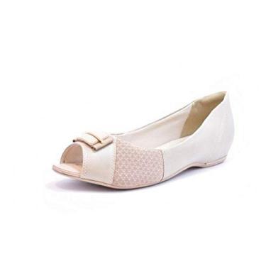 Sapato Comfortflex Ramarim Peep Toe Feminino - 40 - Avelã