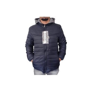 Jaqueta Casaco Masculino Premium Acolchoado Nylon Quente Jaqueta Frio Azul Escuro