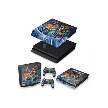 Capa Anti Poeira e Skin para PS4 Slim - Megaman Legacy Collection