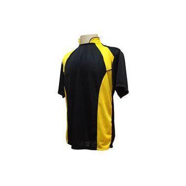 f540f66edc Uniforme Esportivo com 14 Camisas modelo Suécia Preto Amarelo + 14 Calções  modelo Madrid Preto